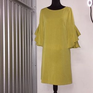 Yellow Sun Dress with flare sleeves